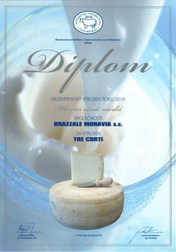 mlekarensky vyrobek roku 2018 Tre Corti Hlavni cena medii